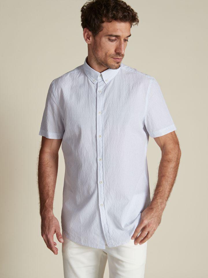 חולצה מכופתרת בטקסטורת פסים