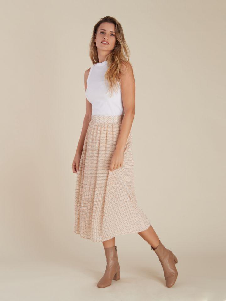 חצאית מידי פליסה גומי