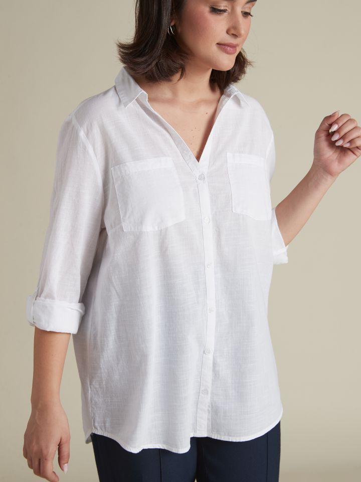 חולצת כותנה מכופתרת OVERSIZE