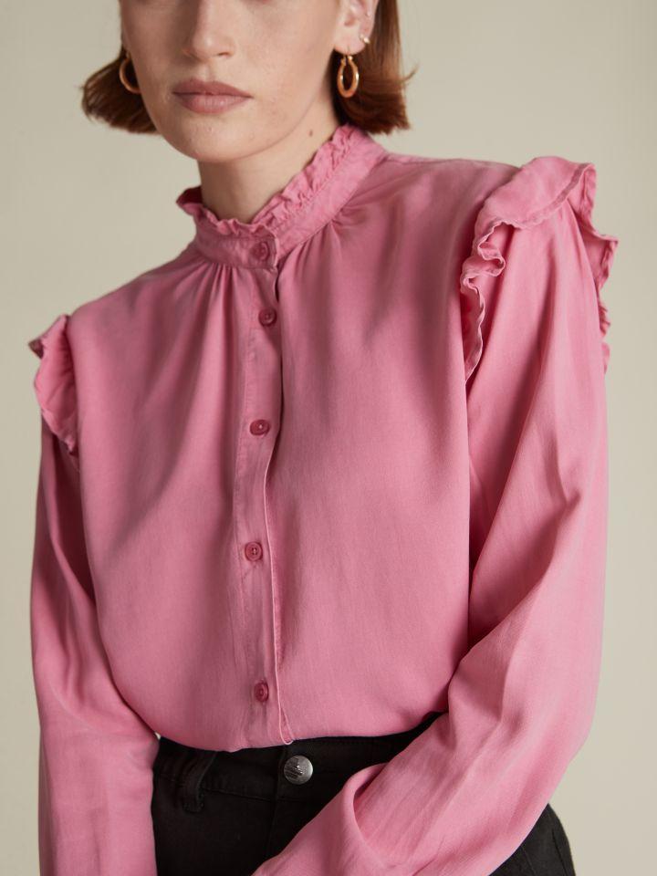 חולצה מכופתרת בשילוב וולן PINK