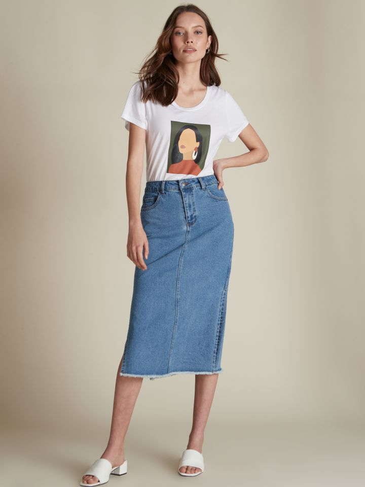 חצאית מידי ג'ינס