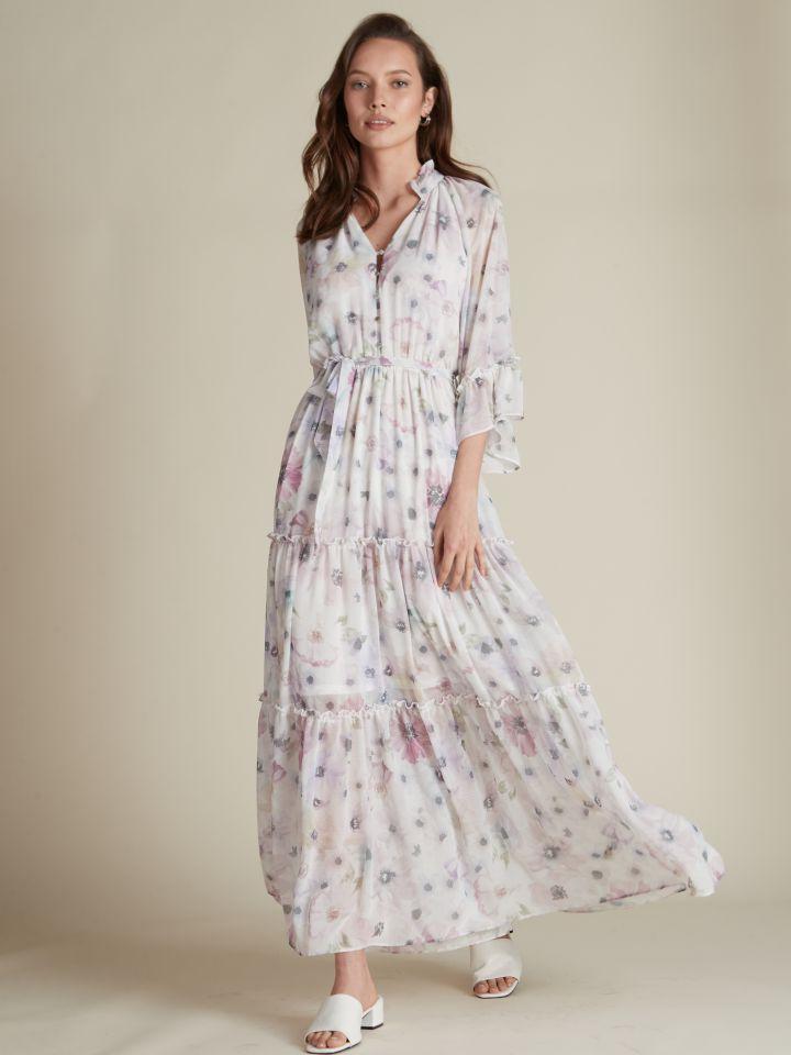 שמלת מקסי שיפון פרחונית