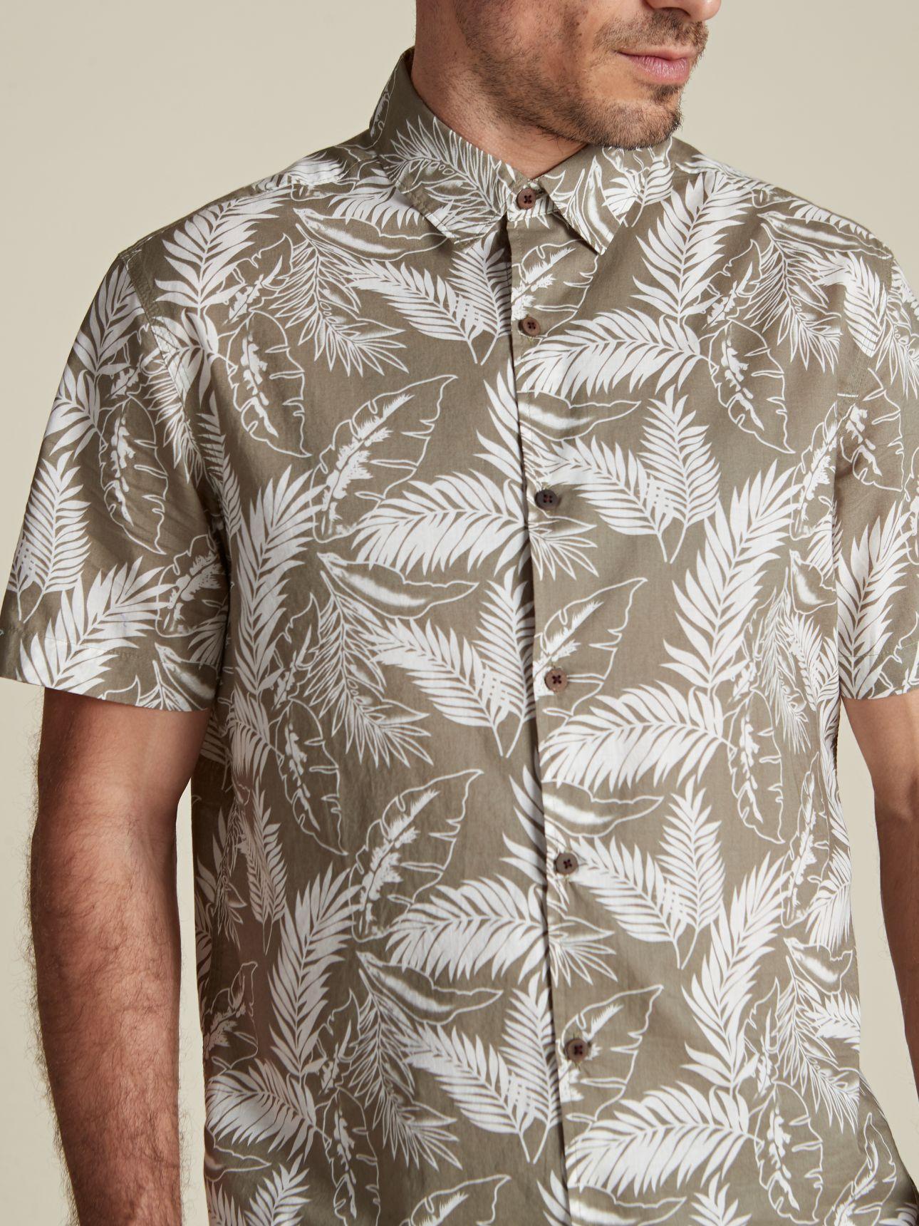 חולצה מכופתרת מודפסת עלים