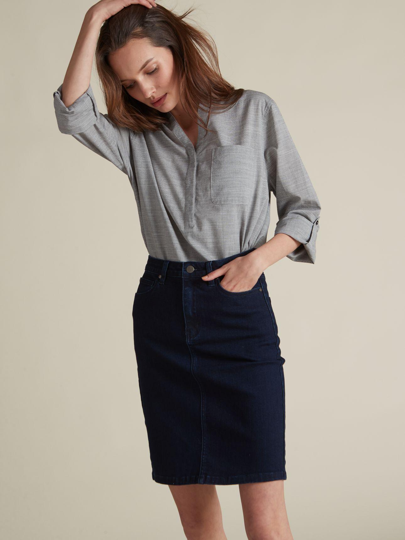 חצאית עיפרון ג'ינס