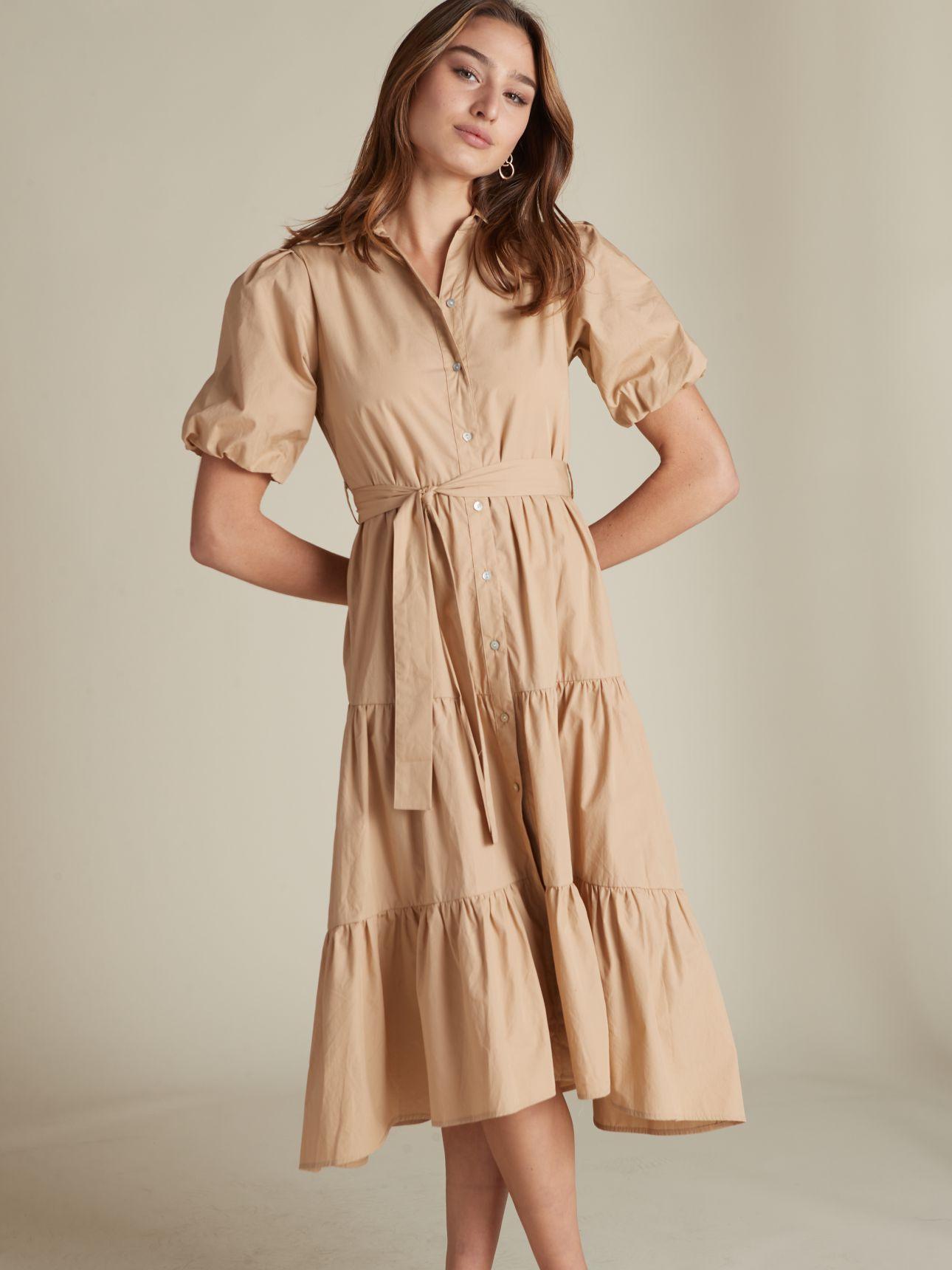 שמלת מידי שרוולים נפוחים